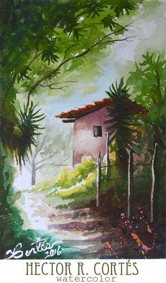 Watercolor Pictures, Watercolor Landscape Paintings, Landscape Drawings, Watercolour Painting, South American Art, Modern Art Movements, Indian Art Paintings, Honduras, Beautiful Paintings