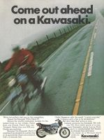 Kawasaki Mach IV 1972 Ad. Among the world's production models, it's the fastest thing on two wheels. Faster than any Suzuki. Faster than any Triumph. Faster than any BSA, any Honda, any anything. Cycle Magazine calls the result a mind pounder, a demon with a fire in its tail-feathers.