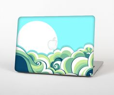 """The Retro Blue Vintage Vector Wave Skin Set for the Apple MacBook Pro 15"""" with Retina Display from Design Skinz"""