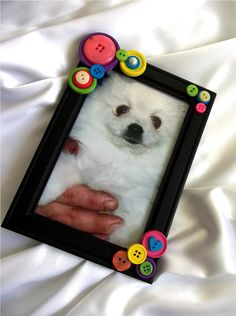 Black Button Embellished Photo Frame 4 x 6  Pink by PowersOfLove