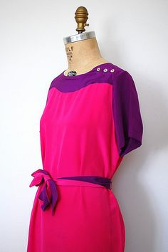 Beautiful purple and bright pink color blocking in a vintage silk dress.