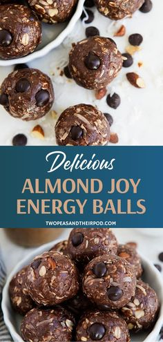 Taste an amazing combination of flavors in Almond Joy Energy Balls! Chocolate, coconut, and almond Fun Easy Recipes, Easy Desserts, Real Food Recipes, Snack Recipes, Dessert Recipes, Yummy Food, Delicious Snacks, Yummy Yummy, Yummy Recipes