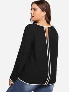 Shop Plus V-Cut Back Contrast Trim Blouse online. SHEIN offers Plus V-Cut Back Contrast Trim Blouse & more to fit your fashionable needs. Blouse Online, V Cuts, Plus Size Swimwear, Plus Size Blouses, Fashion Over 50, Lingerie Sleepwear, Cut And Color, Blouse Designs, Sleeve Styles