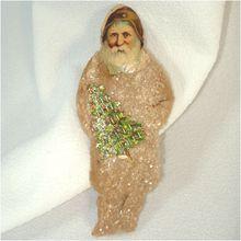 Antique Cotton Batting and Paper Scrap Santa Claus Christmas Ornament