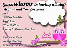 Owl baby shower pink girldigital file you print 5 by OldOwlPress