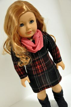 American Girl Doll Clothes Plaid Sweater Dress by CircleCSewing