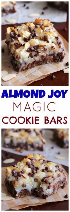 Almond Joy Magic Cookie Bars - Chewy chocolate graham cracker cookie crust topped with ooey gooey coconut, almonds and chocolate chips. Recipe For Almond Joy Cookies, Almond Joy Pie, Almond Joy Cupcakes, Almond Joy Brownies, Chocolate Coconut Bars, Chocolate Pecan Pies, Cookies With Chocolate Chips, Recipes With Chocolate Chips, Best Chocolate Bars