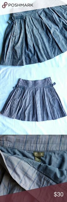 """Anthropologie Plaid Skirt Fei gray flare skirt with side zipper and two side pockets. 15"""" waist,  18.5"""" long. 100% cotton.  Two of the plates stitches have come off (last pic), other than that in great condition. Anthropologie Skirts Mini"""