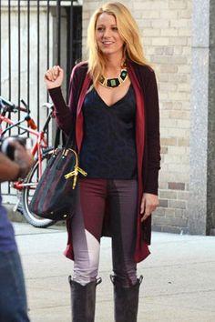 Blake Lively as Serena van der Woodsen, on the set of the CW's hit TV series, Gossip Girl