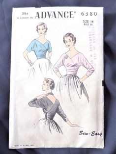 Advance 6380 Top Blouse Unused complete 2 un-printed pcs sld Wrap Blouse, Size 14, 1950s, Sewing, Printed, Pattern, Vintage, Tops, Dressmaking