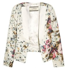 By Malene Birger Salisca floral-print silk-twill blazer ($180) ❤ liked on Polyvore featuring outerwear, jackets, blazers, tops, coats, cream, cream blazer, white jacket, white peplum blazer and floral jacket