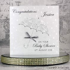 Baby Shower Card - Umbrella - Handmade and Personalised, featuring genuine Swarovski Crystals - FREE Baby Shower Cards, Mothers Day Cards, Fabric Textures, Inspirational Gifts, Birthday Cards, Birthday Gifts, Your Cards, Wedding Cards, Swarovski Crystals