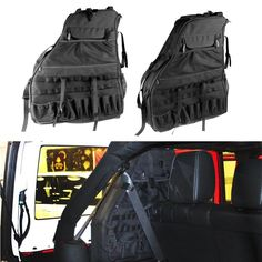 Roll Bar Storage Bag Cage for Jeep Wrangler JK with Multi-Pockets & Organizers & Cargo Bag Saddlebag Tool Kits Bottle Drink Phone Tissue Gadget Holder