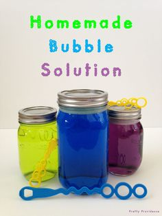 Homemade Bubble Solution - Pretty Providence = 6 cups hot water + cups corn syrup + 1 cups dish washing liquid soap > Whisk evverything together in large bowl until combined. Pour into storage containers. (You can by bubble wands separately at Walmart) Craft Activities For Kids, Summer Activities, Toddler Activities, Kid Activites, Craft Ideas, Fun Ideas, Party Ideas, Homemade Bubble Solution, Homemade Bubbles