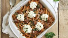 Spaghetti and meatballs get a makeover in this so-good comfort food casserole