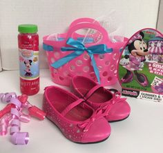 Girls Minnie Mouse Theme Easter Basket Hot Pink Dress Shoes Size 6 Toddler  | eBay