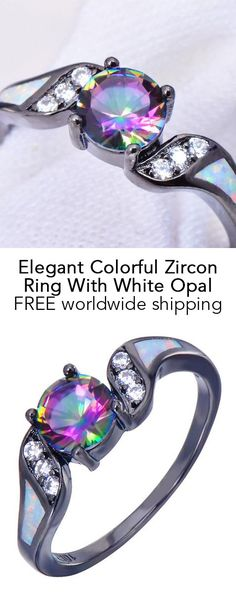 Elegant Colorful Zircon Ring With White Opal