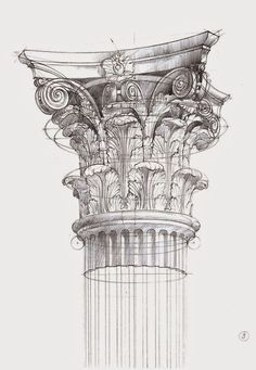 Michal+Suffczynski+-+Corinthian+order.jpg 1,107×1,600 pixeles Building Sketch, Classical Architecture, Gothic Architecture, Architecture Drawing Art, Interior Architecture, Architecture Details, Corinthian Columns, Corinthian Order, Greek Drawing