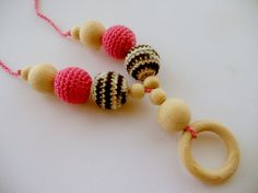 Crochet Nursing Necklace with a wooden ring by bboutiquebeauties