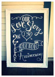 2nd Wedding Anniversary Chalkboard...check out my blog at everydayshouldsparkle.com