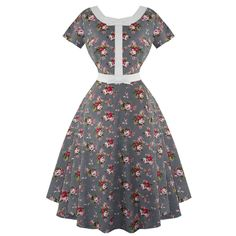 Whispering Ivy Floral Check Print 50s Vintage Tea Party Dress #WhisperingIvy #50sRockabilly #Party