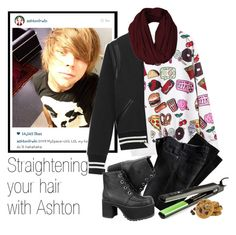 """Straightening your hair with Ashton"" by acc70913 ❤ liked on Polyvore featuring Yves Saint Laurent"