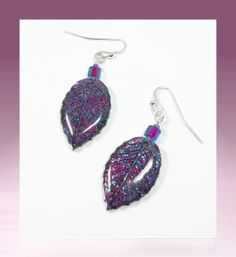 Raspberry Leaf Dangle Earrings polymer clay jewelry by BeadazzleMe, $14.00