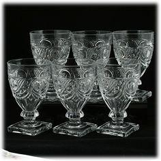 Heisey Ipswich Crystal Water Goblets Set 6 Vintage 1920s Elegant Glass