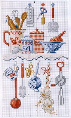 Cross Stitch Charts Free cross stitch pattern for kitchen gadgets Cross Stitch Kitchen, Cross Stitch Love, Cross Stitch Needles, Cross Stitch Charts, Cross Stitch Designs, Cross Stitch Patterns, Cross Stitching, Cross Stitch Embroidery, Embroidery Patterns