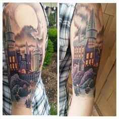Hogwarts Sleeve Tattoo