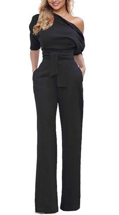 5cf526414fd Grace Elbe Women s Wide Leg Slanted One Shoulder Belted Jumpsuits