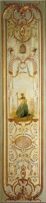 Boiserie panel [La pélerine], 1724-1735 by Lancret, Audran, Gabriel, Degoullons, and Legoupil