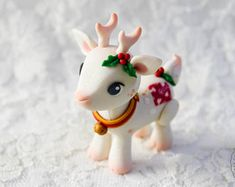 Polymer Clay Christmas Deer Figurine / Cute Clay Holiday Deer Fantasy Collectible / Festive Deer Sculpture