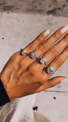 Pear shaped diamonds for days! There are so many different setting styles to choose from - which is your favorite? Celebrity Engagement Rings, Pear Shaped Engagement Rings, Designer Engagement Rings, Diamond Engagement Rings, Engagement Photos, Wedding Nails, Wedding Jewelry, Wedding Rings, Diamond Anniversary Rings