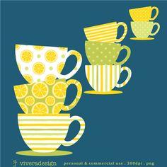 Freshly Squeezed Lemon Teacup Clipart - 10 Teacup and 10 Saucer  via Etsy
