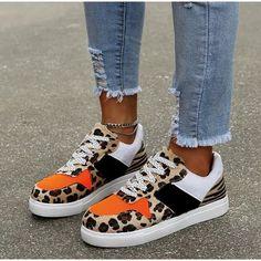 New Women Leopard Vulcanized Shoes Female Sneaker Lace-Up Flat Comfort Faux Fur Shallow Leisure Ladies Footwear Leopard Print Sneakers, Slip On, Sneaker Outfits Women, Heels, Vans, Sneaker Brands, Types Of Shoes, New Woman, Casual