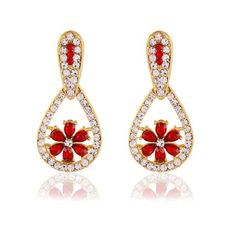 Red & Gold Earring Set Dress Jewellery Online ,Indian Dresses