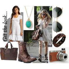 """""""Get the look..."""" by nici898 on Polyvore Jen's Pirate Booty Flirty Dress (white), Naughty Monkey Riddlers Peak - Tan (boots), STS Ladies Large Brown """"Jesse Jane"""" Purse, Banana Republic Sea Pendant - Turquois, Unisex's Braid Leather Wristband Bracelet (Brown Genuine Leather Snap...), Standard Classic Tear Drop Military Metal Aviator Sunglasses, Fujifilm XF1 Digital Camera, Sienna Miller photo: Walking through Primrose Hill in London, Summer looks, boho style...."""