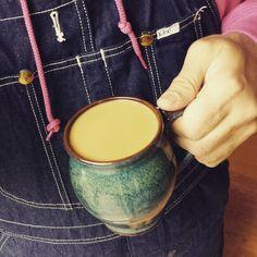 Slight overfill on the coffee mug. #slurp #coffee #yum #overalls #vintage #Lee #bluedenim #dungarees #denim #rawdenim #pink #thinkpink