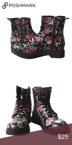 Mossimo Supply Co. floral boots Cute floral boots by Mossimo Supply Co. *Size: 8.5- womens* -Zippers on inner sides of boots to put on without lacing. -Worn once +Pairs well with slim fit or rolled up jeans, leggings, and tights with shorts/skirts. Mossimo Supply Co. Shoes Combat & Moto Boots