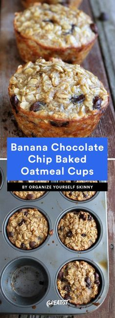 Nine breakfast cups - eat-on-the-run; on the go Banana and Chocolate Chip Oatmeal Cups healthy breakfast recipes quick easy Weight Watcher Desserts, Muffin Tin Recipes, Muffin Tin Meals, Muffin Pans, Breakfast Cups, Breakfast Healthy, Healthy Breakfasts, Breakfast Cupcakes, Healthy Muffins