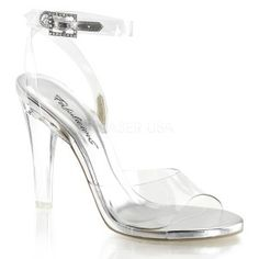 Clearly Beautiful Ankle Strap Sandal - New at ShoeOodles.com Our Price $44.00  Clear strap peep-toe sandal has a 4 1/2 inch heel with wrap around ankle strap with rhinestone accented buckle. Single sole design shoe has no platform.  All man-made materials with padded insole and non-skid sole.  #gothic #fashion #steampunk