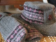 upcycling 110-hat & mittens from old sweater
