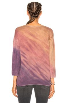 Raquel Allegra Crop Sleeve Boxy Crew Sweater in Rose Quartz Tie Dye | FWRD