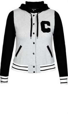 8179c4878a62c Plus Size Varsity Hoodie - City Chic Flattering Outfits