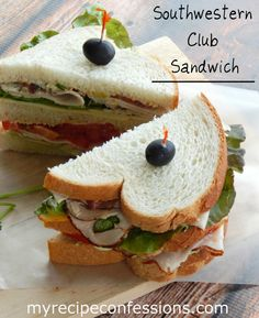 The Southwestern Club is a fabulous twist on the classic club sandwich. It is perfect for those summer nights when you don't want to heat up the oven for dinner. http://myrecipeconfessions.com/