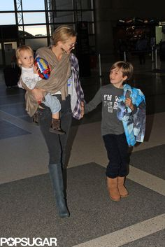 Kate Hudson With Her Sons at LAX ~ bingham in Chrome Hearts tee
