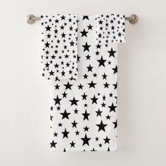 Black Stars Bath Towel Set - fun gifts funny diy customize personal