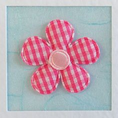 Birthday Card, mum, friend, sister, daughter, girlfriend, for her, wife, pink gingham flower, pale blue, modern, recycled envelope, cute - pinned by pin4etsy.com