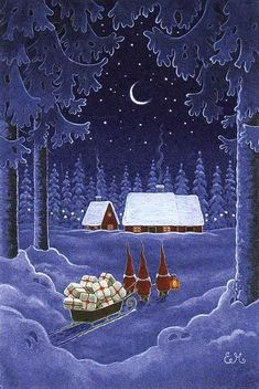 Eva Melhuish, 3 Gnomes with Sleigh of Gifts Christmas Scenes, Christmas Past, Blue Christmas, Christmas Pictures, Winter Christmas, Christmas Crafts, Xmas, Magical Christmas, Illustration Noel